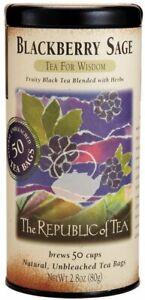Blackberry Sage Tea by The Republic of Tea, 50 tea bag with Caffeine