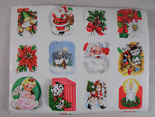 Lot of Vintage Christmas Stickers Bell Santa Church Kitten Angel Puppy Candle