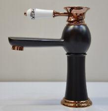 Vintage Style Porcelain Bath Basin Sink Mono Bloc Mixer Rose Gold Black Tap