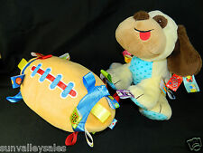 Taggies Football & Puppy Dog Plush Tag N Play Crib Toys Chime Rattle Excellent