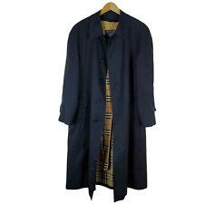VINTAGE Burberry's Trench Coat jacket Nova Check overcoat Black Wool Lined 40R