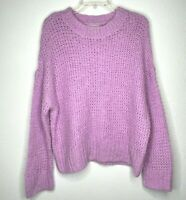 NWT Chelsea28 Womens Chunky Crewneck Open-Knit Sweater Soft Cozy Pink Medium