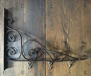 "Antique 19"" Heavy Duty Scrolled Wrought Iron Wall Bracket Sign Hanger"