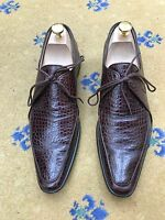 Oliver Sweeney Men's Shoes Brown Leather Moc Crocodile Lace Up UK 8 US 9 EU 42