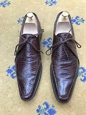 Oliver Sweeney Men's Shoes Brown Leather Moc Crocodile Lace Up UK 8 US 9 EU 42