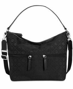 Giani Bernini Annabelle Chain Signature Hobo Crossbody Bag, Black Silver