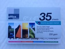 "Office Works 6""x 4"" Gloss Photo Paper Photo Cards for Inkjet 220gsm 35 Sheets"