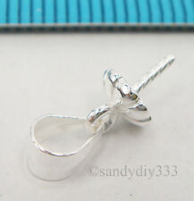 2x STERLING SILVER PENDANT CLASP PEARL CAP 5mm BAIL SLIDE PIN CONNECTOR #2052