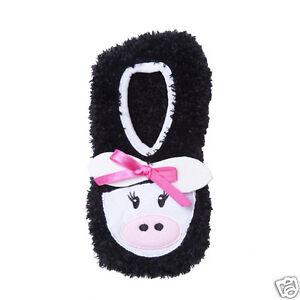 K.Bell Black White Cow With Bow Socks Non-Skid Cozy Slipper Socks One Size New