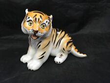 Vintage Tiger Cub Ceramic Figurine Dmitrov Porcelain Made in USSR Tiger Kitten