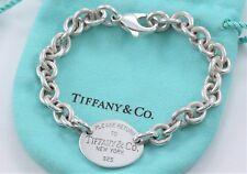 "Please Return To Tiffany & Co Silver Oval Tag Love Charm Bracelet 7.25"" w/ Pouch"