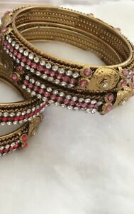 Karaa / Bangles Gold Plated Pink White Crystal Stones.Size 2.6 Costume Jewellery