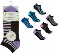 Ladies Womens Undercover Striped Breathable Bamboo Trainer Socks 6 or 12 Pairs
