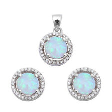 Halo White Fire Opal & Cz  .925 Sterling Silver Earring & Pendant Set