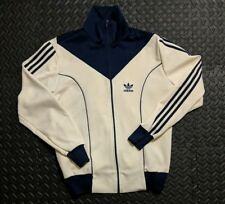 Vintage Adidas 80s Track Jacket Medium Navy Blue White Spell Out RARE