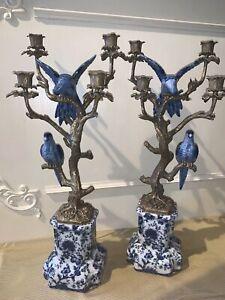 Magnificent Large Candle Holder Antique Style Parrot Porcelain Bronze Set 60cm