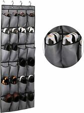 Over The Door Shoe Organizer 24 Large Fabric Pockets Hanging Shoe Gray Brand NEW