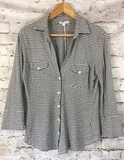 James Perse Size 2  Medium Soft Cotton Stripe Button Down Gray and White Collar