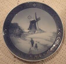 Reduced 1963 Royal Copenhagen Plate Denmark Windmill, Children, Sled, Christmas