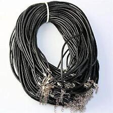5 x Strong Leather Round Thong Necklace Cords Lobster Clasp 18 inch x 2mm thick