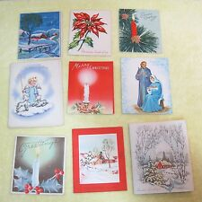 9 Vintage Greeting Card Christmas 1950's Angles Barnes Poinsettias Candles C11