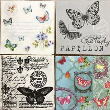set of 4 DESIGNS PAPER NAPKINS COLLECTION for DECOUPAGE Birds butterfly flowers