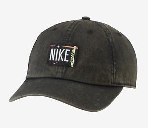 Nike Women NSW Heritage 86 Washed Caps Hat Black Fashion Golf Cap DH2058-010