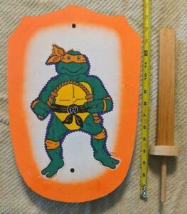 MICHELANGELO WOODEN SHIELD AND SWORD TMNT CRAFTED HANDMADE ITEM