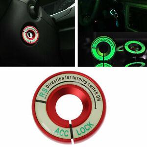 Red Aluminum Luminous Interior Ignition Key Switch Ring Cover Trim for Audi Auto