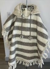 Handmade poncho knit wool natural boho hippie Stripped One Size