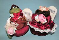 Russ Berrie Kathleen Kelly Christmas cat & frog #2655 set Lil Romantics Series