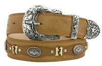Mens Concho Western Belt Genuine Leather Cowboy Silver Studs Buckle Light Brown