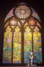 """Banksy, Boy Praying, Graffiti Art, Giclee Canvas Print, 8""""x12"""""""
