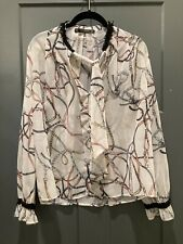 New listing zara basic medium long sleeve blouse, neck tie, equestrian horse bit bridle