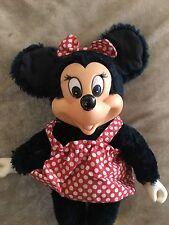 "Vintage 9"" Minnie Mouse Plush Polka Dot Shift Dress & Bow Plastic Shoes Hands"