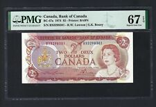 Canada 2 Dollars 1974 BC-47a Uncirculated Graded 67