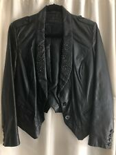 Zara 100% Leather Blazer/Jacket With Silver Studs. Black, Size S.