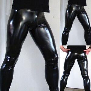 Sexy Homme PU Cuir Leggings Gay Mouillé Look Pantalon Serré Étroit Clubwear