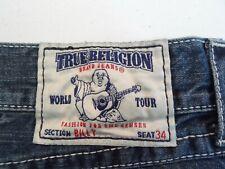 True Religion Men's Billy Bootcut Jeans Size 30x30 Navy Blue Denim Distressed