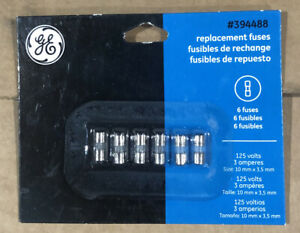 GE (6) Replacement Fuses  #394488 125 Volts/5 Amperes (10 mm x 3.5 mm)