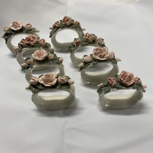 Vintage 2 porcelain napkin rings.Christmas decoration.