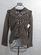 NWT - NY Based Saks Woman's Brown Knit Crochet Cardigan Size L Large $148