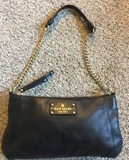 Kate Spade Black Leather Wristlet Clutch Purse Handbag