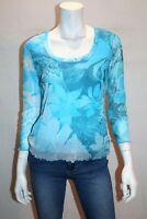 per una Brand Blue Mesh Lace 3/4 Sleeve Top Size 14 BNWT #SI25