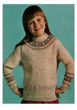 Fair Isle Yoke Sweater/Jumper Knitting Pattern. Girls/Child's Age 6-10. DK Wool.