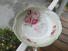 """Vintage 50s Made in Germany [PINK+RED ROSES] Hand Painted 9"""" Bowl>GORGEOUS"""