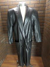 GIII 2 Button Double Breasted Black 100% Leather Trench/Duster Ladies Medium