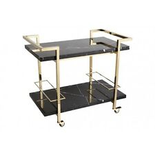 DRINKS TROLLEY Gold stainless steel frame with black marble top & bottom shelf