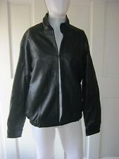 Izod Leather Zip Up Hooded Bomber Flight Motorcycle Jacket Mens M Zip Out Hood