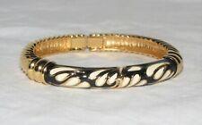 St John Black/Ivory Teardrop Enamel w/Gold Textured Twist Hinged Magnetic Bangle